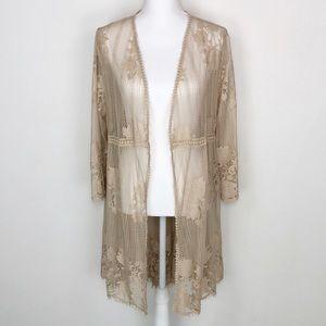 Miss Cheivous Tan Lace Kimono